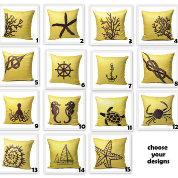 Yellow Nautical Pillow Covers, 18 x 18 Throw Pillow Covers - set of 2, Yellow Linen Pillow Dark BrownNautical Embroidery, CHOOSE THE DESIGN