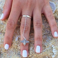 Silver Cute Bee Link Double Ring