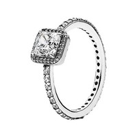 Women's PANDORA 'Timeless Elegance' Ring - Silver/ Clear