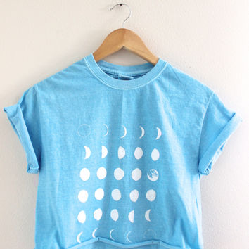 Moon Phases Blue Graphic Cropped Tee
