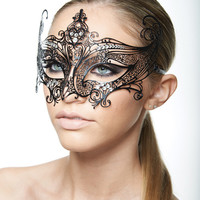 Laser Cut Masquerade Mask with Clear Rhinestones