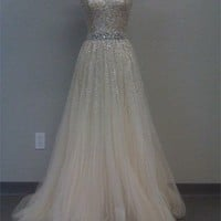Gorgeous A-line Sweetheart Tulle Prom Dress with Sequins