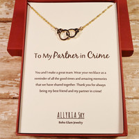 """Gold Plated Handcuff """"Partner in Crime"""" Necklace and Card 
