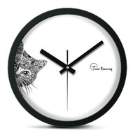 "Time Roaming 10"" Modern Decor Silent Metal Wall Clock, Peep Cat"