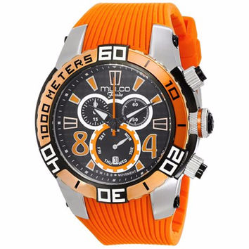 MULCO MW1-74197-615 FONDO WHEEL CHRONOGRAPH BLACK DIAL ORANGE RUBBER STRAPS MENS WATCH