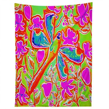 Renie Britenbucher Dragonfly And Flowers In Pink And Green Tapestry