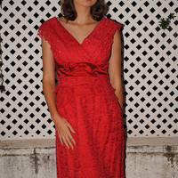 Vintage 1950s Red Bombshell Dress - Rhinestone Bodice & Tiered Lace / red vintage dress/ 1950s wiggle dress / old hollywood bombshell