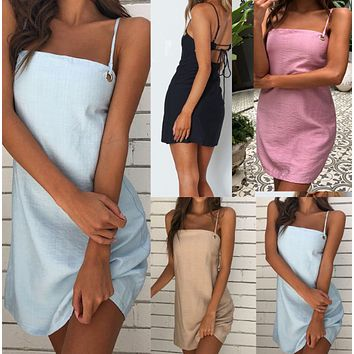 New fashion summer suspenders sexy backless loose dress women's clothing
