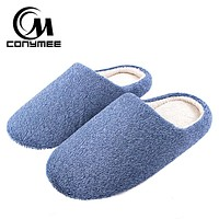 CONYMEE Soft Plush Home Slippers Men Indoor Cotton Shoes Big Size Winter Casual Sneakers For Man Floor Warm Furry Slipper