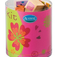 Aladine Happiness Themed Rubber Stamps, Set of 15 Plus 1 Ink Pad