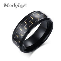 Modyle 2016 NEW Carbon Fiber Simple Men Ring 8mm Stainless Steel 3 Colors Fashion Rings Jewelry