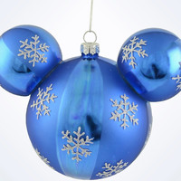 Disney Parks Mickey Blue Snowflakes Christmas Ball Ornament New With Tags