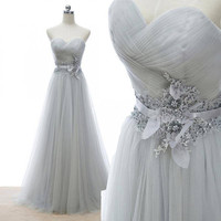 Sweetheart Neck Silvery Tulle Long Prom Dress with Lace Appliqued Sash APD1639