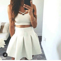 HOT TWO PIECE FRESH WHITE DRESS