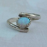 Gibson Opal Ring Created White Fire Size 6.25 Sterling Silver Jewelry