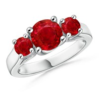Classic Ruby Three Stone Cathedral Ring