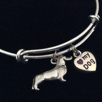 Dachshund Love my Dog Charm on a Silver Expandable Adjustable Bangle Bracelet Meaningful Dog Lover Gift Trendy