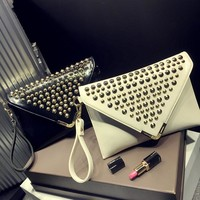 Winter Stylish Bags Rivet One Shoulder Messenger Bags [6581199303]