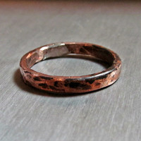Organic Hammered Copper Ring // Handmade Artisan Designed Recycled Electrical Wire Copper Ring // Upcycled Copper Ring