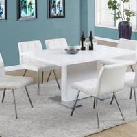 """White Leather-Look / Chrome Metal 32""""H Dining Chair/ 2Pcs"""