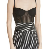 Milly Karissa Dot Stretch Mesh Bustier Top | Nordstrom