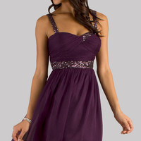 Short Sleeveless Purple Party Dress