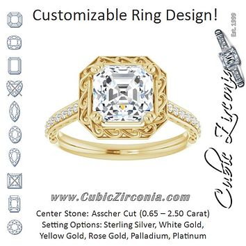Cubic Zirconia Engagement Ring- The Montserrat  (Customizable Asscher Cut Halo Design with Filigree and Accented Band)