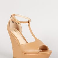 Bamboo Leatherette T-Strap Peep Toe Platform Wedge Color: Natural, Size: 8.5