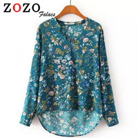 Women Clothing Fashion Loose Floral Print V Neck Women Tops Long Sleeve Casual Vintage Blouses Shirts Female Blusas