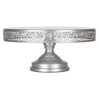 16 Inch Round Metal Wedding Cake Stand (Silver)