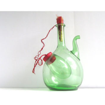 Vintage Hand Blown Green Wine Decanter from Italy with Ice Chamber