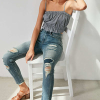 BDG Twig Crop High-Rise Skinny Jean - Distressed Patch | Urban Outfitters