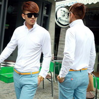 Men Trendy Casual Long Sleeve Warm Fashion Fitted Korean Tops Solid T-shirt Tees