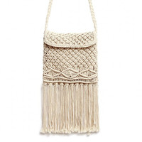 Beach Crochet Fringed Flap Over Crossbody Bag in Beige