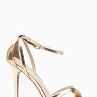 Gold Faux Leather Ankle Strap Cut Out Single Sole Heels @ Cicihot Heel Shoes online store sales:Stiletto Heel Shoes,High Heel Pumps,Womens High Heel Shoes,Prom Shoes,Summer Shoes,Spring Shoes,Spool Heel,Womens Dress Shoes