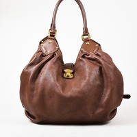 "Louis Vuitton Brown Mahina ""L"" Hobo Shoulder Bag"
