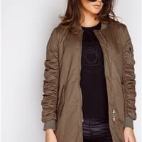 Megan McKenna Khaki Longline Bomber Jacket at misspap.co.uk