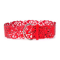 Hot Fashion 7 Colors Wide Hollow Buckle Waist band Waistband Waist Belt Women's Lady Floral Tie Belt