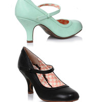 Bettie Page Retro Mary Jane Heels Black & Mint
