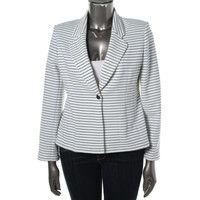 Calvin Klein Womens Textured Striped One-Button Blazer