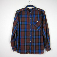 Vintage Blue and Brown Plaid Shirt Women's Large