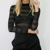 Winter Stylish Slim See Through Stripes Long Sleeve Bottoming Shirt [8789867271]