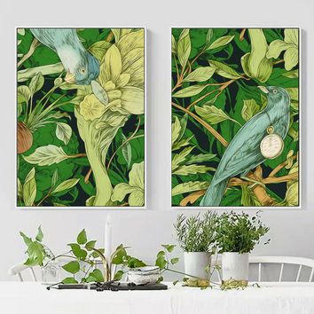 Watercolor Green Tropical Plant Bird Nordic Posters And Prints Wall Art Canvas Painting Wall Pictures For Living Room Wall Decor
