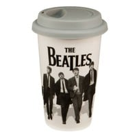 Vandor 64651 The Beatles 12 oz Double Wall Ceramic Travel Mug with Silicone Lid, Black and White