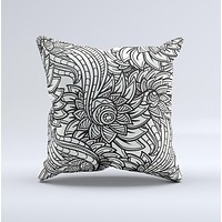 Black & White Vector Floral Connect Ink-Fuzed Decorative Throw Pillow