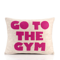"go to the gym- recycled felt applique pillow 14""x18""  - more colors available"