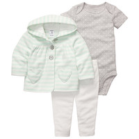 Carter's Girls Lime Heart 3 Piece Striped Hooded Cardigan, Bodysuit, and Pant Set