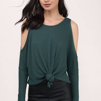 Something About You Cold Shoulder Knot Top