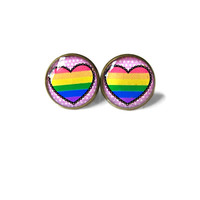 Pastel Goth Pink Conversation Heart Gay Pride Flag Stud Earrings - Funny Antisocial Soft Grunge Pastel Goth Radical Jewelry