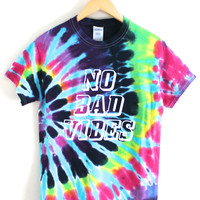 No Bad Vibes Multicolored Tie-Dye Graphic Unisex Tee